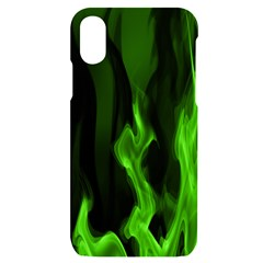 Smoke Flame Abstract Green Iphone X/xs Black Uv Print Case by HermanTelo