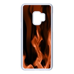 Smoke Flame Abstract Orange Red Samsung Galaxy S9 Seamless Case(white)