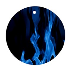 Smoke Flame Abstract Blue Ornament (round)