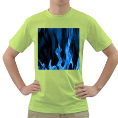 Smoke Flame Abstract Blue Green T Shirt by HermanTelo