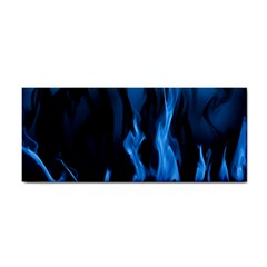 Smoke Flame Abstract Blue Hand Towel