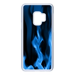 Smoke Flame Abstract Blue Samsung Galaxy S9 Seamless Case(white)