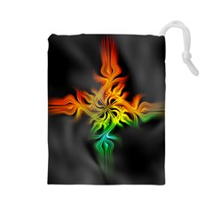 Smoke Rainbow Abstract Fractal Drawstring Pouch (large)