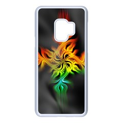 Smoke Rainbow Abstract Fractal Samsung Galaxy S9 Seamless Case(white)