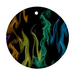 Smoke Rainbow Colors Colorful Fire Ornament (round)