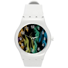 Smoke Rainbow Colors Colorful Fire Round Plastic Sport Watch (m) by HermanTelo