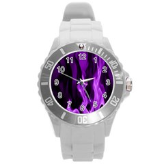 Smoke Flame Abstract Purple Round Plastic Sport Watch (l)