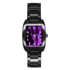 Smoke Flame Abstract Purple Stainless Steel Barrel Watch by HermanTelo