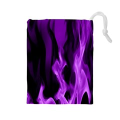 Smoke Flame Abstract Purple Drawstring Pouch (large)
