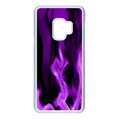 Smoke Flame Abstract Purple Samsung Galaxy S9 Seamless Case(white)