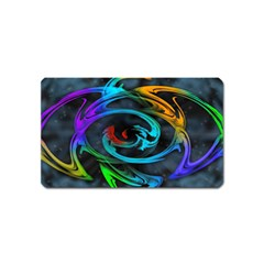 Rainbow Fractal Clouds Stars Magnet (name Card) by HermanTelo