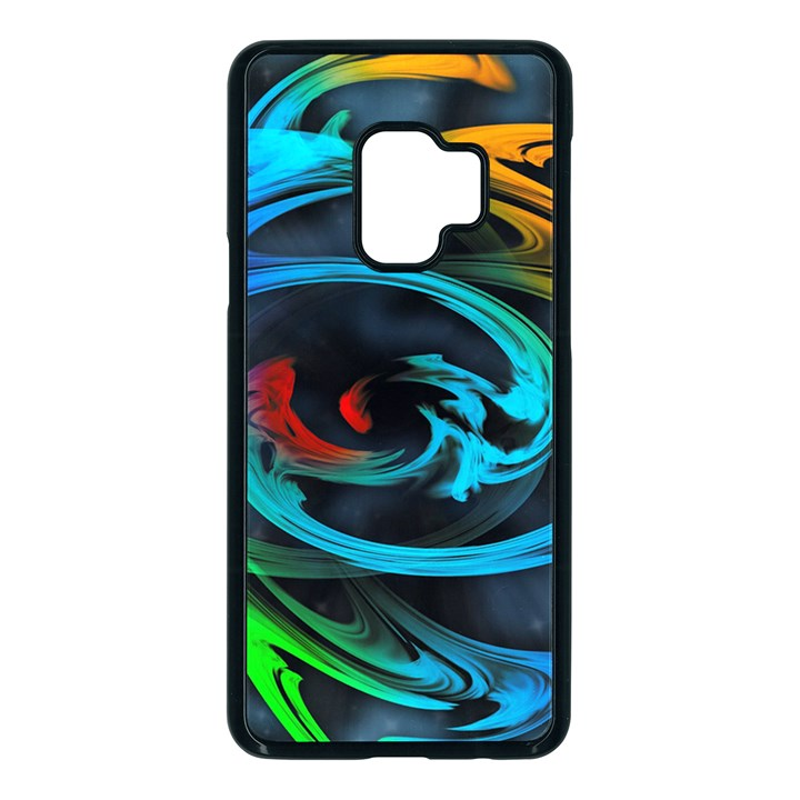 Rainbow Fractal Clouds Stars Samsung Galaxy S9 Seamless Case(Black)