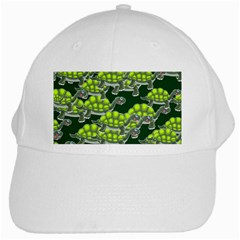 Seamless Turtle Green White Cap by HermanTelo