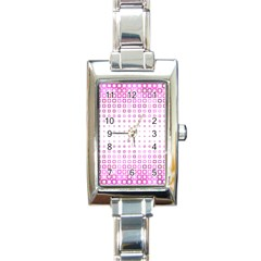 Square Pink Pattern Decoration Rectangle Italian Charm Watch by HermanTelo