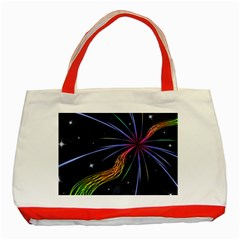 Stars Space Firework Burst Light Classic Tote Bag (red) by HermanTelo