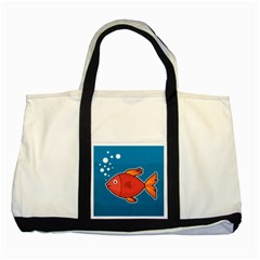 Sketch Nature Water Fish Cute Two Tone Tote Bag by HermanTelo