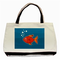 Sketch Nature Water Fish Cute Basic Tote Bag (two Sides) by HermanTelo