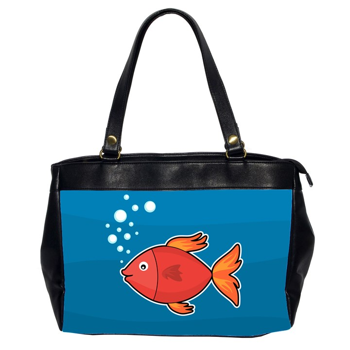 Sketch Nature Water Fish Cute Oversize Office Handbag (2 Sides)