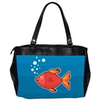 Sketch Nature Water Fish Cute Oversize Office Handbag (2 Sides) Back