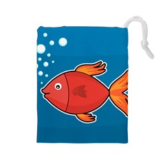 Sketch Nature Water Fish Cute Drawstring Pouch (large)
