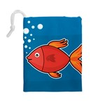 Sketch Nature Water Fish Cute Drawstring Pouch (Large) Back