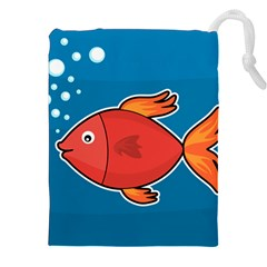Sketch Nature Water Fish Cute Drawstring Pouch (xxl) by HermanTelo