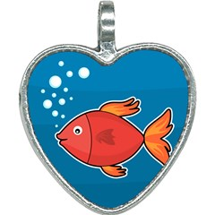 Sketch Nature Water Fish Cute Heart Necklace