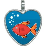 Sketch Nature Water Fish Cute Heart Necklace Front