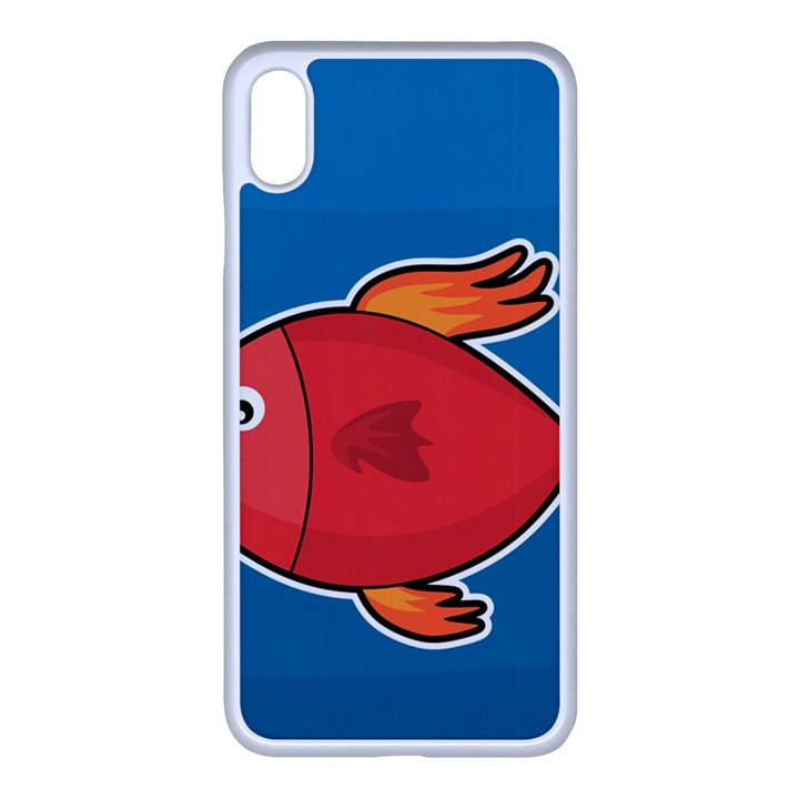 Sketch Nature Water Fish Cute iPhone XS Max Seamless Case (White)