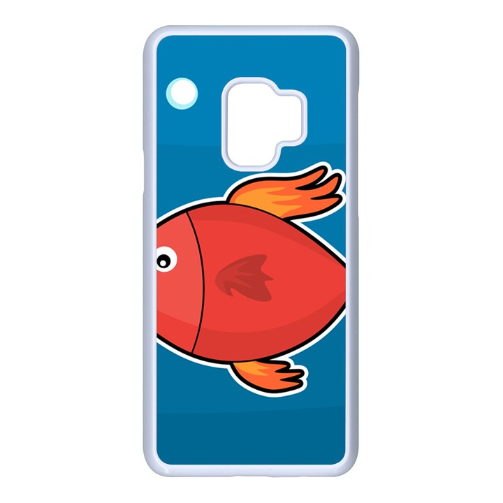 Sketch Nature Water Fish Cute Samsung Galaxy S9 Seamless Case(White)