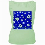 Star Background Pattern Advent Women s Green Tank Top Front