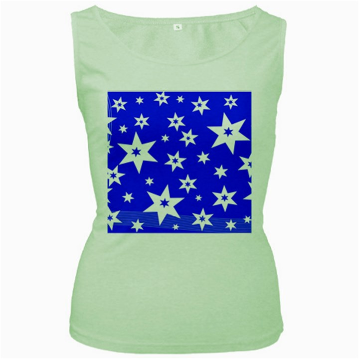 Star Background Pattern Advent Women s Green Tank Top