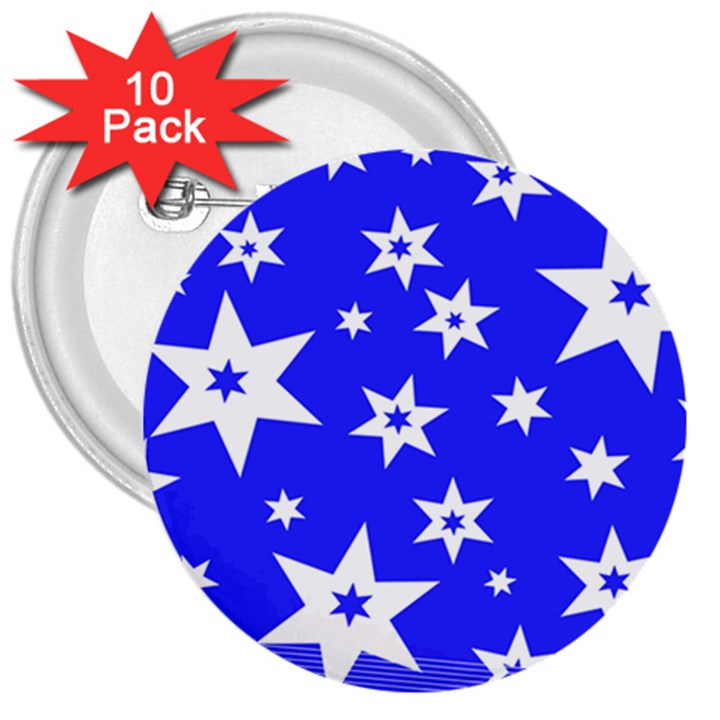 Star Background Pattern Advent 3  Buttons (10 pack)