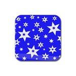 Star Background Pattern Advent Rubber Coaster (Square)  Front