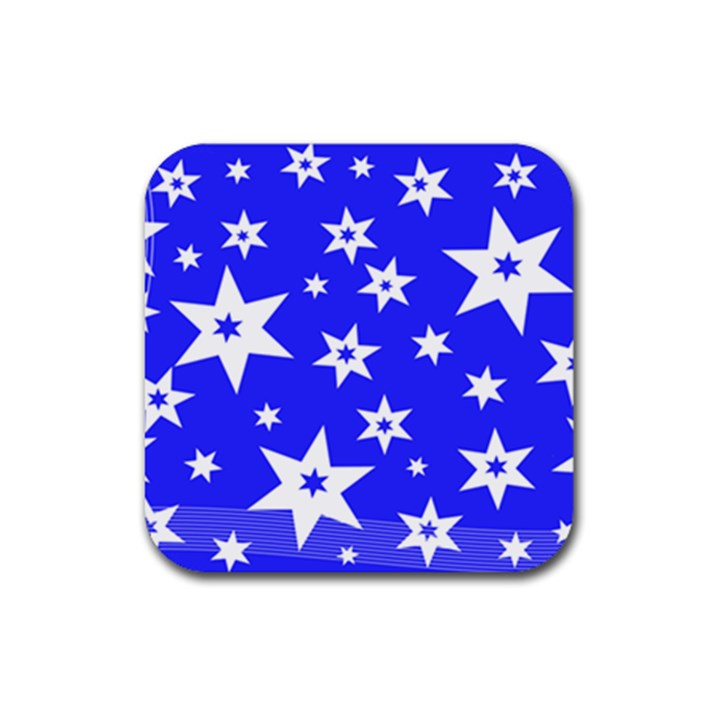 Star Background Pattern Advent Rubber Coaster (Square)