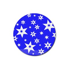 Star Background Pattern Advent Rubber Coaster (round)  by HermanTelo