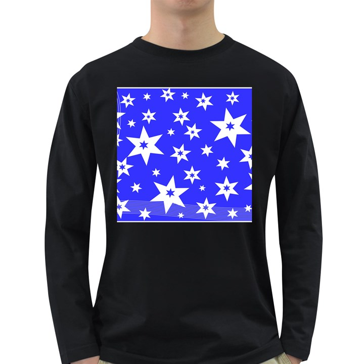 Star Background Pattern Advent Long Sleeve Dark T-Shirt