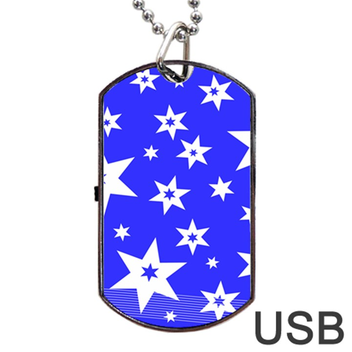 Star Background Pattern Advent Dog Tag USB Flash (One Side)