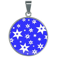 Star Background Pattern Advent 30mm Round Necklace