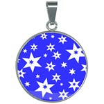 Star Background Pattern Advent 30mm Round Necklace Front