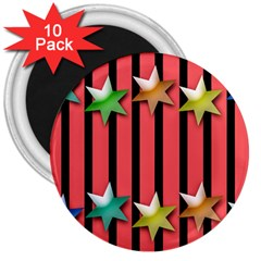Star Christmas Greeting 3  Magnets (10 Pack)  by HermanTelo