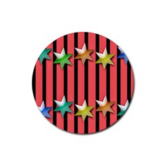 Star Christmas Greeting Rubber Coaster (round)  by HermanTelo