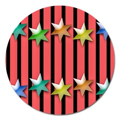 Star Christmas Greeting Magnet 5  (round) by HermanTelo