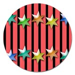 Star Christmas Greeting Magnet 5  (Round) Front