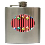 Star Christmas Greeting Hip Flask (6 oz) Front