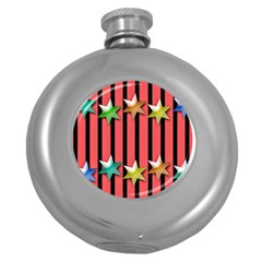 Star Christmas Greeting Round Hip Flask (5 Oz) by HermanTelo