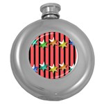 Star Christmas Greeting Round Hip Flask (5 oz) Front