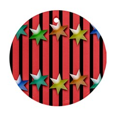 Star Christmas Greeting Round Ornament (two Sides)