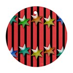 Star Christmas Greeting Round Ornament (Two Sides) Front