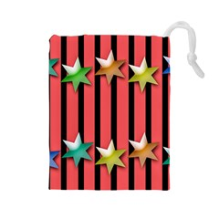 Star Christmas Greeting Drawstring Pouch (large)